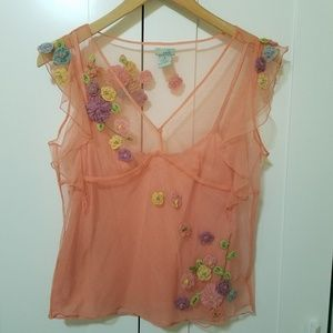 Vintage Anthropologie Odille Mesh floral top